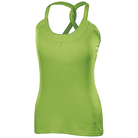 Fitness Isis Women's Enza Strappy Tank DECENT FEATURES of the Isis Women's Enza Strappy Tank Dri-Release Quick dry properties for ultimate dryness Fresh Guard finish prevents odor Built-in shelf bra with 1in. elastic for added support Stylish screen print design The SPECS Body Length: 26in. Fabric: 81% Polyester, 14% Cotton, 5% Spandex - $38.95