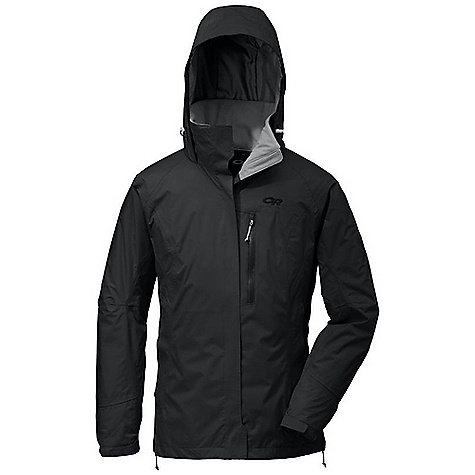 Free Shipping. Outdoor Research Women's Sojourn Jacket DECENT FEATURES of the Outdoor Research Women's Sojourn Jacket Waterproof Breathable Fully seam taped Fully adjustable hood fits over helmet; folds into collar Double-separating front zipper with external storm flap Double-sliding TorsoFlo hem-to-bicep zippers Two zippered handwarmer pockets; zippered napoleon pocket Zippered internal chest pocket with media port Elastic cuffs with hook/loop tabs Dual drawcord hem adjustments The SPECS Weight: (M): 20.0 oz / 567 g Fit: Standard Center Back Length: 26 3/4in. / 68 cm Fabric: 100% nylon, 2-layer 40D Pertex Shield stretch ripstop fabric; 100% polyester dropped mesh lining This product can only be shipped within the United States. Please don't hate us. - $194.95