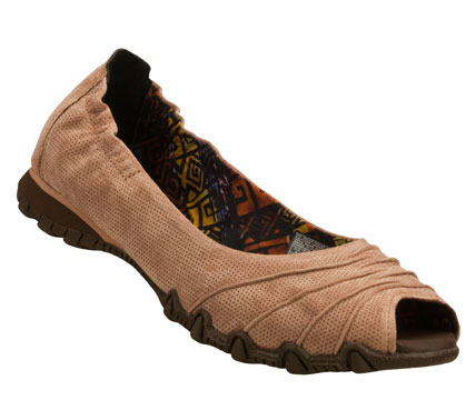 Entertainment Become rich in versatile comfortable style with the SKECHERS Bikers - Prolific shoe.  Soft suede upper in a slip on dress casual peep toe ballet flat with stitching and ruched detail. - $60.00