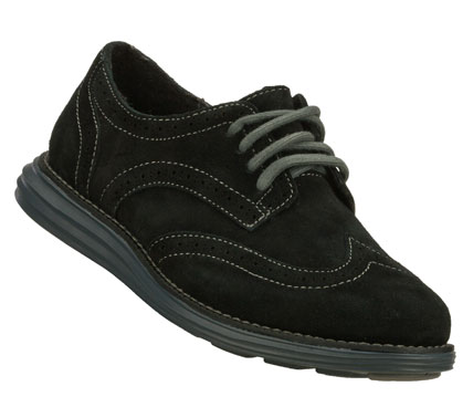 Versatile tailored style adds a pop of color in the SKECHERS Groove Lite shoe.  Soft suede upper in a classic lace up wing tip oxford with contrast colored lightweight outsole. - $49.00
