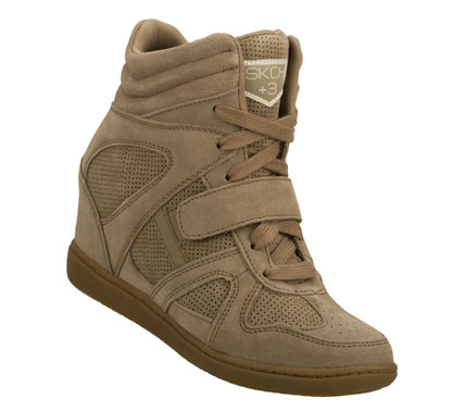 Entertainment Score more style points wearing the SKECHERS SKCH Plus 3 - Rebound shoe.  Soft suede and perforated suede upper in a lace up casual high top hidden wedge sneaker with stitching and overlay accents. - $75.00