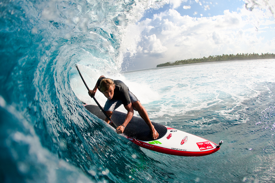 Wake Jaime Mitchell getting some wave action in the Maldive Islands