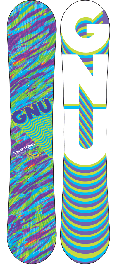 Snowboard The GNU B-Nice BTX Snowboard is an Easy to Ride all Terrain Freestyle Banana Board.  The B-Nice simply makes riding easier.  It's Banana at its best for entry level or rippers.  It floats in powder like a dream, carves the hardpack and ice and is loose for freesyle fun in the park and all over the mountain. Each of these graphics are visual expressions of the feeling you get when you have the run of your life.  Fun, flowing, effortless, and explosive!  A perfect combo of banana and Magne-Traction with a friendly flex makes everyone feel Nice. Ridden by true Gnu friends Meg Pugh, Donna Vanno, and team captain Barrett Christy. - $399.95