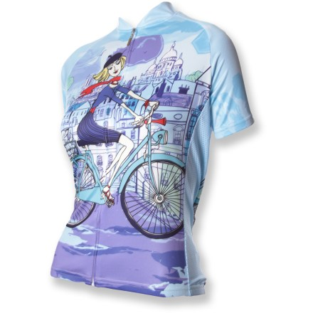 Fitness Show your love of old Paree in the women's 83 Sportswear Riding in Paris Bike Jersey. - $34.83