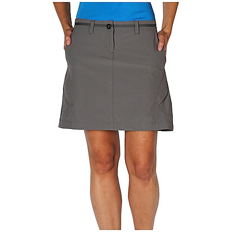 Free Shipping. Ex Officio Women's Kukura Trek'r Skort DECENT FEATURES of the Ex Officio Women's Kukura Trek'r Skort 4/way Stretch Two side zip pockets Security zip pocket on right leg and right back Hidden Stretch waistband Stretch: Stretch fabric provides maximum mobility and comfort during activity Sun Guard: Specialized fabric rated with a UPF (Ultraviolet Protection Factor) absorbs and reflects harmful rays, preventing them from damaging your skin Water Resistant: Lightly coated with polyurethane to resist the penetration of water Stain Resistant: Resists the penetration of stains, making it easier to blot or launder Indestructible Button: Buttons are secured by nylon loops sewn into the garment for durability The SPECS Natural fit Trek'r Stretch 92% Nylon/8% Elastane - $84.95