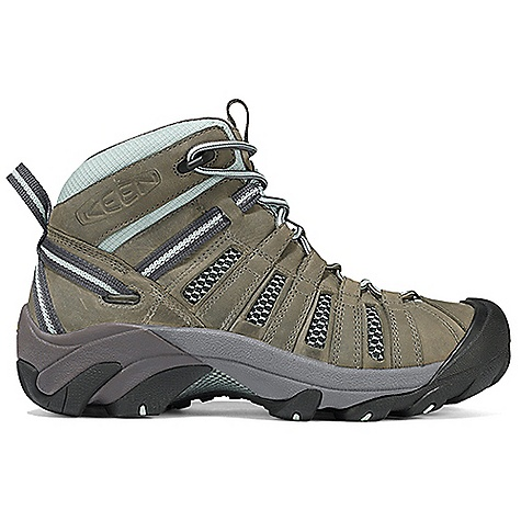 Camp and Hike The Women's Voyageur Mid Boot by Keen. The Voyageur Mid is a rugged cruiser with its windows down for ventilation. Stripped of its waterproof barrier in favor of mesh lining, the Voyageur Mid allows for more ventilation on hot summer days. The aggressive Outsole has 4mm lugs to bite into the terrain, providing excellent traction while the ESS shank provides torsional stability for a secure ride from valley to mountaintop. Features of the Keen Women's Voyageur Mid Boot Waterproof nubuck leather and breathable mesh Upper Removable metatomical Dual Density EVA Footbed Torsion stability ESS shank S3 heel support structure Dual Density compression molded EVA Midsole 4mm multi-directional lugs Non-marking rubber Outsole - $124.95