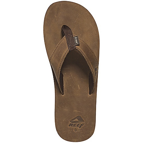 Surf Reef Men's Reef Leather Smoothy Sandal DECENT FEATURES of the Reef Men's Reef Leather Smoothy Sandal Full grain leather strap and footbed with comfortable reef polyes ter lining Classic smoothy construction Reef-flex triple density EVA construction with anatomical arch support Highly abrasion resistant, molded reef rubber non-marking outsole - $47.95