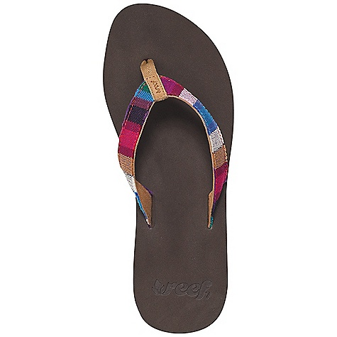 Surf Reef Women's Guatemalan Love Sandal Decent features of the Reef Women's Guatemalan Love Soft cotton strap featuring hand-woven textiles from guatemala Suede toepost logo; woven polyester toepost Eva footbed with anatomical arch support Durable rubber outsole - $33.95