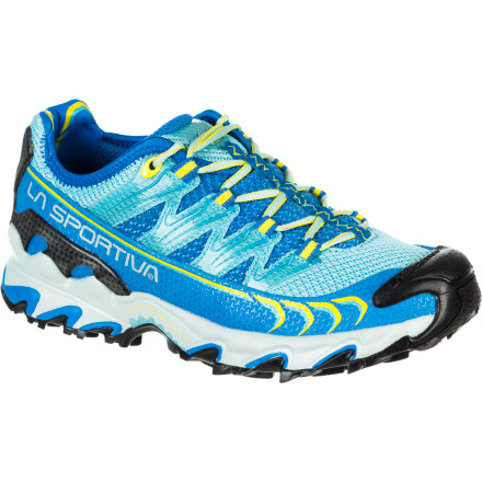 Fitness Race up and down steep, technical trails when you're wearing the La Sportiva Women's Ultra Raptor Trail Running Shoe. This shoe features dynamic midsole cushioning to soak up rough terrain, a sticky rubber sole that grips like glue, and opposing, slanted sole-lugs that help reduce stress on your ankle and knee when you're ascending or descending steep slopes. Everything about this neutral trail shoe was designed to provide the stability and comfort long-distance endurance athletes need to run far and run wild. - $116.96