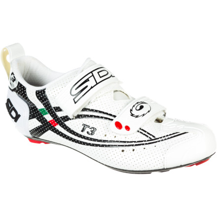 Fitness In a triathlon, every second counts. However, while most seconds are earned in the pain cave, some seconds are lost to human error, and some are simply purchased. Lucky for you, the Sidi T3.6 Shoes cover you on all fronts. With a new design, transitions are simplified with the T3.6's ease-to-use entry and exit system, and your efforts are maximized from its carbon sole and conforming design. And to top things off, the T3.6 is Speedplay-specific, so you don't have to bolt-on wasted weight from adapters. If you've already landed here, we acknowledge that you don't need selling on the powers of Speedplay. However, not all Speedplay shoe configurations boast the same host of benefits as the Sidi T3.6 shoes, so both parties will benefit from the following. Because of Speedplay's direct-bolt cleat design, Sidi was able to create the T3.6 without a base plate. This results in a reduced stack height of 4mm, an additional aft adjustment of 6mm, and a 62g installed weight reduction from the standard T3 design. How does this translate to race day' Well, the reduced stack height allows you to lower your saddle position and center of gravity. So, you not only gain a more direct power transfer to the pedals, but your aerodynamic position is now more streamlined with the bike. In fact, Speedplay actually states that this provides a 33 seconds per hour savings while using its pedals. From a purely functional standpoint, we can agree that rigidity is key. That's why Sidi uses a multi-step system to ensure that your power output receives a minimal amount of dissipation through the interaction of the shoe and the pedal. To achieve this, Sidi incorporated its new Eleven Carbon Composite sole. Now, don't think that this is anything like the Millennium 3 composite sole. The Eleven uses a 3K carbon fiber weave that's been inset into a carbon infused nylon matrix. - $349.95
