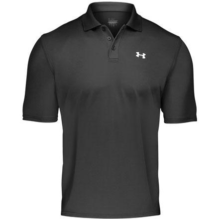 Golf Traveling for work can be a hot, sweaty affair, but you can't exactly wear your wicking workout tank on the plane. Pull on the Under Armour Men's Performance Short-Sleeve Polo Shirt. This lightweight shirt wicks moisture on hot waits before takeoff, and the Performance Polo's fabric has 30+ Ultraviolet protection that blocks harmful rays if you're on a company golf outing. A generous, loose cut and four-way stretch provide plenty of room to move. - $49.95