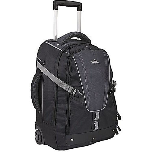 Entertainment High Sierra Export 22-Inch Wheeled Bag - Never stop exploring with High Sierra's Export Wheeled travel pack. Quickly convertible from a wheeled pack to a backpack, the Export Wheeled pack features a front load main compartment, deluxe adjustable Vapel mesh Airflow padded backpack straps, and adjustable side compression straps to handle any load. Wherever your next journey leads, count on the Export Wheeled pack to get you there in comfort. Features: Adjustable, Vapel mesh Airflow padded backpack straps., Deluxe organizer with cell phone pocket, pen pockets, and removable key fob., Zippered pocket, with headphone port, holds an MP3 player or sunglasses., Adjustable side compression straps, with buckle mounts, help compress smaller loads and relieve zipper stress when pack is full., Vapel mesh Airflow padded grab handles wick moisture., Vapel mesh Airflow adjustable padded waist belt helps secure the pack., Contoured daisy chain for attaching gear., Reflective accent piping for safety., Mesh 1000mL water bottle pocket.. Special Order: This is a Special Order item, will be shipped from the manufacturer, and is not stocked in our warehouse. This item does not qualify for our Price Matching Policy. Order processing time may vary., Shipping Exclusion: This item is only available for shipment by UPS to the lower 48 United States. APO, FPO, PO BOX, Hawaii, and Alaska shipments may not be possible for this item. (Please call prior to purchase.), Product ID: 142508, Model Year: 2013 - $134.99