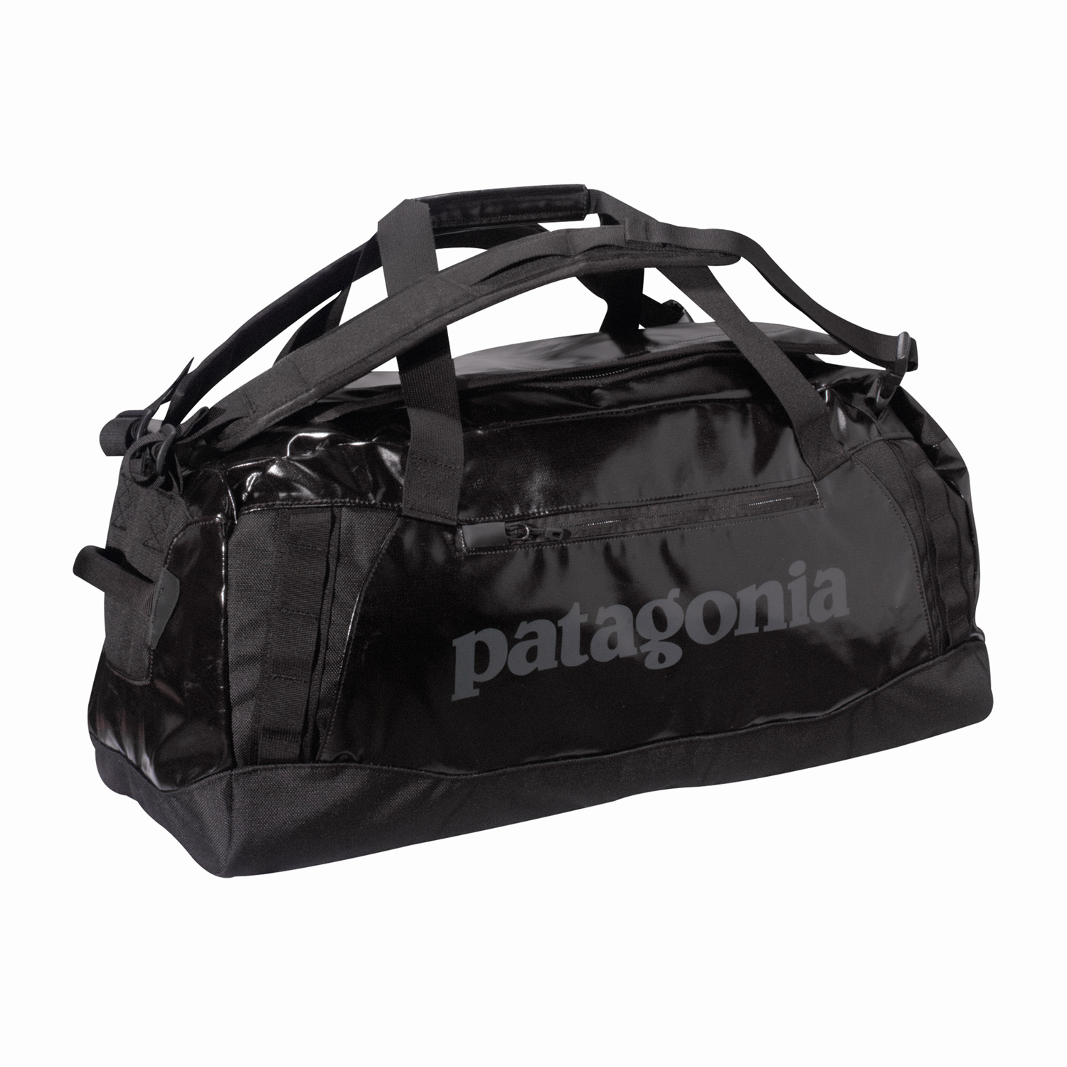 Entertainment A highly water-resistant and super-durable duffel designed to carry your gear to faraway places. FABRIC: 14.7-oz 1,200-denier polyester (50% solution-dyed  with a TPU-film laminate and a DWR (durable water repellent  finishKey Features of the Patagonia  Hole 60L Duffle Bag Black: Waterproof fabric with sewn seams protects your gear in wet conditions Carry with handle or haul handles; four corner-mounted webbing daisy chains facilitate hauling and tying down big loads U-shaped lid provides easy access to the main compartment; zippered exterior pocket; two zippered internal mesh pockets Bottom padded with foam to protect contents - $119.00
