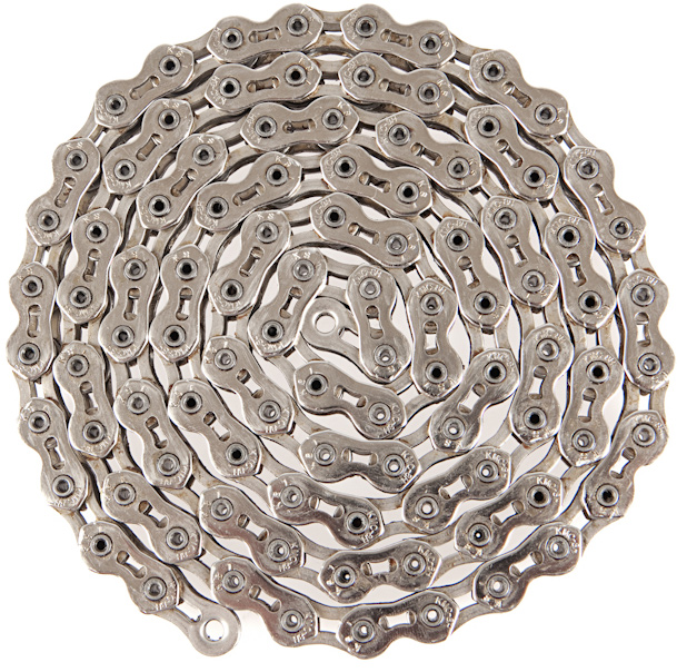 "BMX Key Features of the Kmc K710Sl Super Lite Kool BMX Chain 1/8"": Cutouts in the plates to reduce weight Chain Compatibility: 1/2"" x 1/8"" Number of Speeds: Single Speed Defined Color: Silver Color: Silver Links: 100 Width: 9.3 mm Weight: 405.0 g Catalog Page: 244 Weight/Dims: .8 lbs. 3.5 x 3.5 x 1 - $24.00"