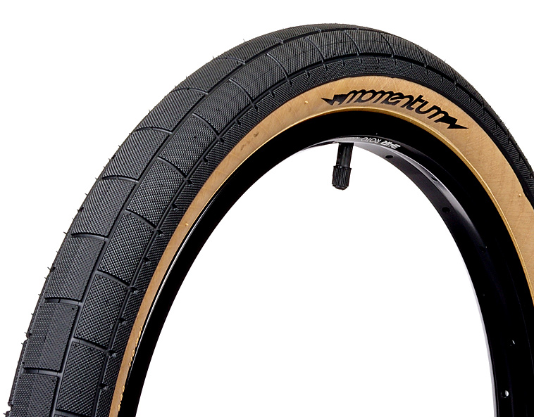 "BMX Lightest wire bead tire available! Our new high pressure (110 psi), lightweight, wire bead tire. Featuring low profile rectangle tread pattern for grip on any terrain.Key Features of the Demolition Momentum BMX Tire 2.2 x 20"": Featuring low profile rectangle tread pattern for grip on any terrain Intended Use: BMX Defined Color: Black Color Tread/Side: Black/Tan Tire Type: Clincher Tire Diameter: 20"" Labeled Width: 2.2 ISO Width: 54 mm ISO Diameter: 406 / 20"" BMX Tire Bead: Steel PSI: 110 PSI Catalog Page: Not in the 2012 catalog Weight/Dims: 1.185 lbs. 20.5 x 20.5 x 1 - $23.95"