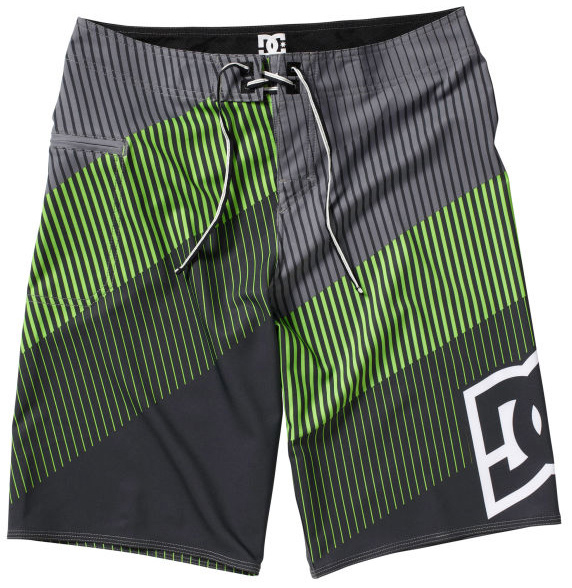 "Skateboard Key Features of the DC Brap Boardshorts: 4 Way stretch Engineered print Embroidery eyelets Deluxe dobby neo fly Seamless side seam panels Custom trim 21"" 93% Polyester / 7% Spandex - $49.50"