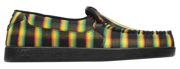 "Skateboard Key Features of the DC Villain TX Skate Shoes: Whip Stitch, Moc Toe Slip-On Stylized Plaid Textile Upper Soft Mesh Lining DC's Trademarked ""Pill Pattern"" Tread. - $34.95"