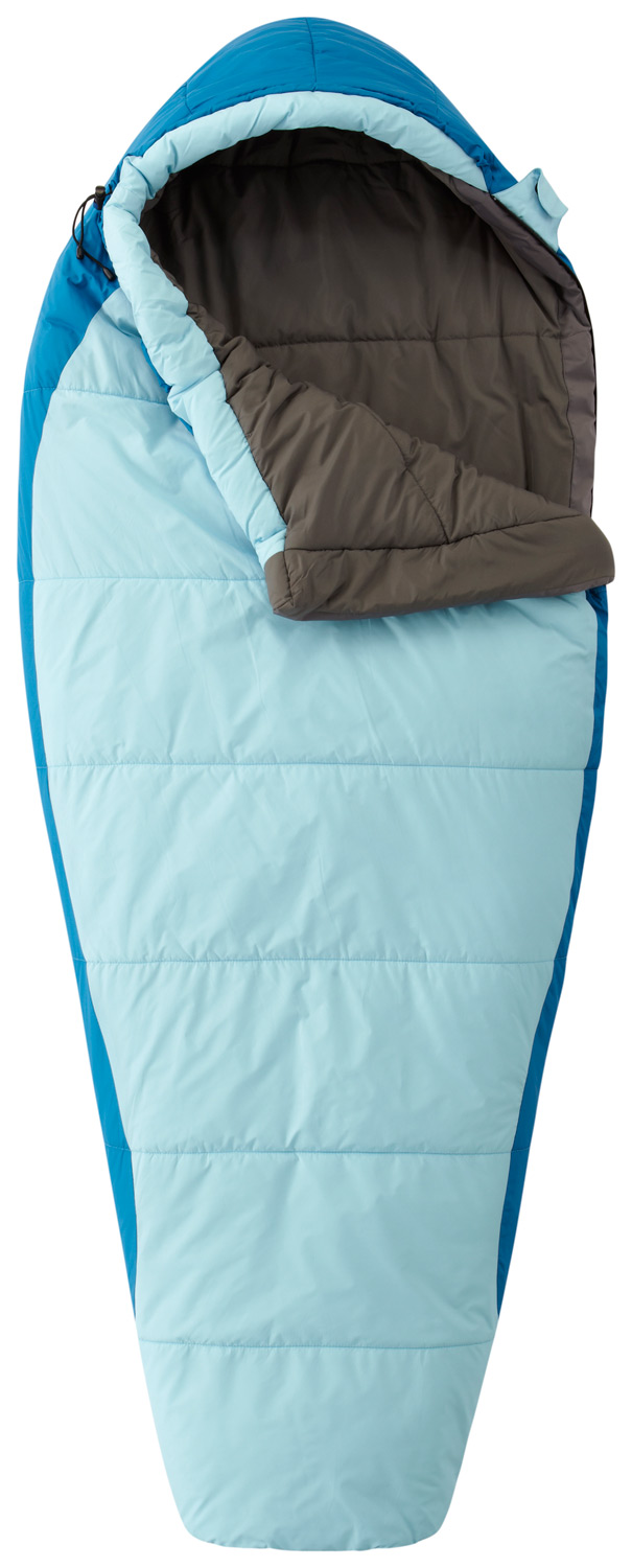 "Camp and Hike A sleeping bag that ""grows"" with your child--a unique drawcord system allows you to adjust the bag's internal length. This bag offers serious warmth for chilly nights, with a contoured hood and face gasket to seal in warmth, and warm and lofty Thermic MX™ insulation. Compresses for easy packing.Key Features of the Mountain Hardwear Mountain Goat Adjustable Sleeping Bag Reg Rh: Drawcord system allows the inside length to be adjusted, as your child grows Thermic MX™ insulation has outstanding loft and excellent compressibility Insulated side draft tube prevents cold spots along zipper Face gasket comfortably blocks drafts at hood opening Single-handed drawcords simplify adjustments Chest pocket with Velcro® closure provides storage for small items Nylon compression stuff sack included Imported Bag Shape Comfort Mummy Cut Weight2 lb. 3 oz. / 1.00 kg. Fill Type SYNTHETIC Insulation Thermic MX™ Lining50D Polyester Taffeta Shell Taffeta Nylon 50D Loft5 in / 13 cm Stuff Size8 in / 20 cm Inside Length Range Regular63 in / 160 cm Shoulder Girth Range Regular56 in / 142 cm Foot Girth Range Regular36 in / 91 cm Hip Girth Range Regular56 in / 142 cm - $115.00"