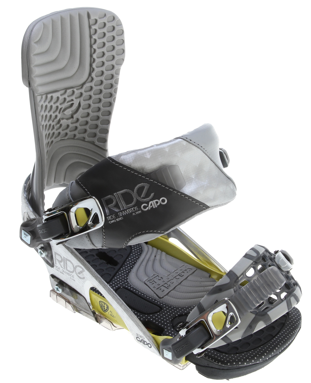 Snowboard The Capo is packed with the latest techs including the Freestyle ankle strap, Infinity chassis, new AstroGlyde LT ratchets and Eclipse highback for top of the line all mountain freestyle performance. Offering mid-level support and optimal flex, along with the pop enhancing Wedgie 2.5 footbeds and grippy 3D ThinGrip toe strap for the adventurous next generation Rider. Key Features of the Ride Capo Snowboard Bindings: Flex 7 Infinity Chassis System w/ Adjustable Heelcup Eclipse Highback Wedgie 2.5 Footbed Urethane Rollbar Basepad Freestyle Ankle Strap 3D ThinGrip Toe Strap NEW! FlipSide Mount Strap NEW! AstroGlyde LT Ratchets Forged Aluminum Micro-Disc - $188.95