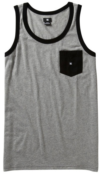 Skateboard With a cool mix of piping details, patterns and contrast ribbing, the DC Contra Tank has a chest pocket and a color to fit anyone's taste. Key Features of the DC Contra Tank: Cotton Poly jersey tank Contrast rib and pocket DC Custom woven label trim package 60 % Cotton / 40% Polyester - $19.95