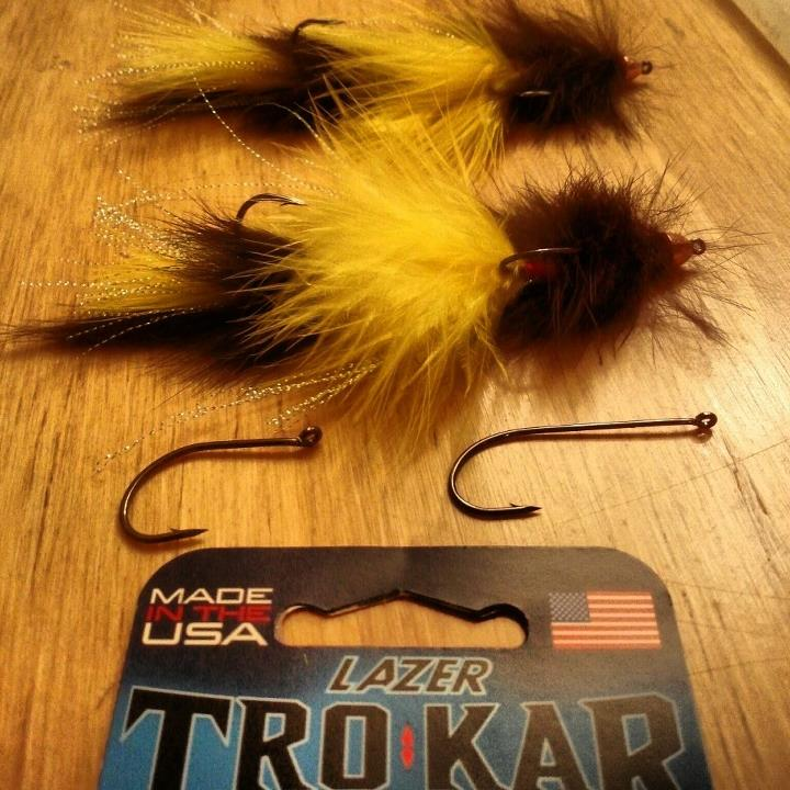 Fishing Our friend Tom sent us these huge streamers tied with 2 Trokar hooks. We can't wait to see them hanging out of a jaw.