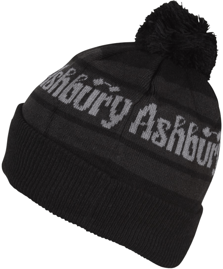 Entertainment The Ashbury Pom Beanie in Black and Charcoal is a classic fit fold up in all acrylic for extra comfort. Keep your head warm snowboarding in Ashbury. - $23.95