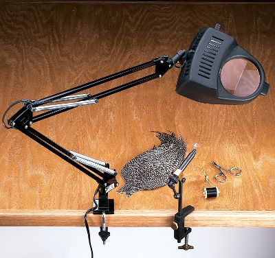 "Flyfishing Clamp this handy lamp onto any surface for viewing small objects clearly and up close. The incandescent model uses up to a 60-watt bulb for intense brightness, while the 4"" diameter 3x magnifying window brings tiny objects into view for hands-free viewing. Great for a wide range of hobbies and crafts including fly-tying and rod-wrapping. - $19.88"