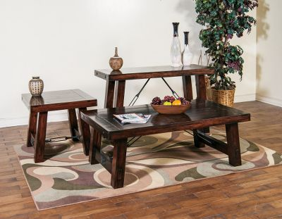 Entertainment This Vineyard Coffee and End Table set is constructed of solid-wood tops, distressed mahogany solids and distressed industrial turnbuckle accents for a clean, rustic look. Set includes Coffee Table and two End Tables. Strong tongue-and-groove construction. Durable 12-step finish process. Imported.Coffee Table dimensions: 52L x 30D x 19H.End Table dimensions: 25L x 28D x 22H. - $949.99