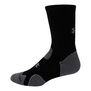 "Fitness Full cushioning takes you off road without sacrificing comfort. Blaze a trail & stay on target in UA's heavy-weight boot socks. Signature Moisture Transport System wicks sweat away from the footArmourBlock(R) technology neutralizes the odor-causing microbes for maximum scent suppressionFull cushioning built into the sock for maximum shock absorption and protectionEmbedded arch support reduces foot fatigue, bolsters circulationContoured ""Y"" heel for comfort and perfect fitFlex zone prevents bunchingAcrylic/Merino Wool/Nylon/Spandex(R)Imported - $16.99"