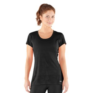 Fitness This T-shirt was built for the ladies who aren't afraid to head out into the heat. We took our signature sweat-wicking performance fabric and built in UA coldblack(R), a revolutionary technology that reflects even the nastiest heat. So when you're training for 26.2 in the dead of summer, BLACK OUT THE SUN(TM)...and stay cooler, drier, and more protected than ever. Revolutionary coldblack(R) technology reflects heat and IR rays to keep you cooler than everSlightly textured poly has a soft, sleek feel that delivers incredible comfort and performanceSuperior Moisture Transport System wicks away sweat to keep you cool, dry and comfortableLightweight, 4-way stretch construction improves mobility and accelerates dry timeUPF 30+ protects your skin from sun damage and premature aging Mesh insets at sides dump heat for enhanced breathabilityReflective logos add extra visibility during low-light conditionsDroptail hem offers superior back coverage Faux dip dye hex gradient printPolyesterImported - $29.99