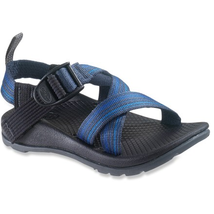 Surf These kids' Chaco Z/1 EcoTread sandals offer multisport versatility and feature partially recycled outsoles for everyday adventuring. Adjustable polyester strapping system uses pull-through design to give a secure fit while avoiding the bulkiness of extra buckles and straps. Molded polyurethane topsole/midsole units offer durable, dependable cushioning; anatomically shaped to support arches. EcoTread(TM) rubber outsoles contain 25% recycled rubber and offer superb traction. Toss into washing machine for easy cleaning or clean by hand with scrub brush, baking soda and water; avoid bleach. Proudly carries the Seal of Acceptance from the American Podiatric Medical Association. All-synthetic construction makes the ZX/1EcoTread sandals vegan friendly. - $26.83