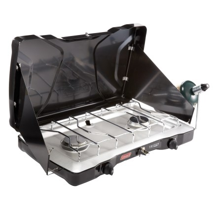 Camp and Hike Head out for a weekend in the woods with lots of great food prepared on the Coleman Triton Series 2-Burner Stove. Its portable design and powerful burners let you whip up tasty campground meals. - $48.93