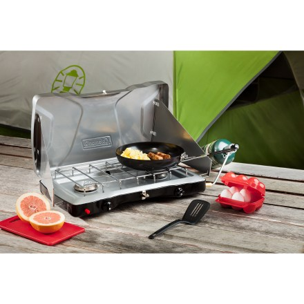 Camp and Hike The high-performance Coleman Triton InstaStart(TM) 2-Burner propane camp stove features matchless lighting and powerful burners in a slim, portable design. - $62.93
