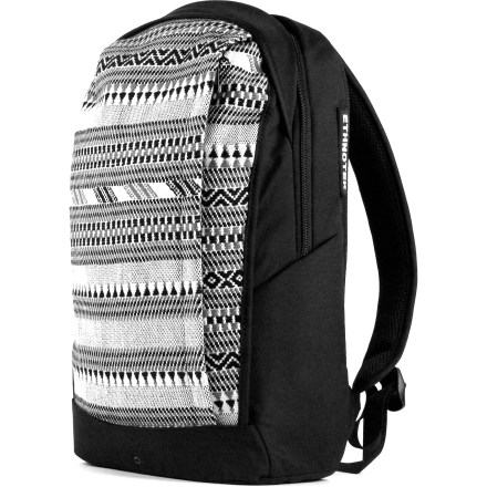 Entertainment The Ethnotek Wayu Slim daypack is for students, day hikers and urban commuters. Not too big and not too small, it easily carries everything you need to have with you for a day's exploration. Interchangeable front panel is crafted from handmade, hand-loomed and hand-embroidered ethnic textiles. Padded compartment fits up to 15 in. laptops; internal zippered mesh pocket holds laptop accessories. Front panel zipper pocket fits magazines and letter sized papers. 2 external quick-grab side zipper pockets allow you to stow your phone, keys, wallet or sunglasses without having to take the bag off. Ehthnotex Wayu main pack is made from water-resistant 840-denier ballistic nylon; bag is lined with a thin layer of high-density foam to protect contents. Airmesh back panel and adjustable, padded shoulder straps ensure a comfortable fit; top handle allows easy carrying. - $48.83