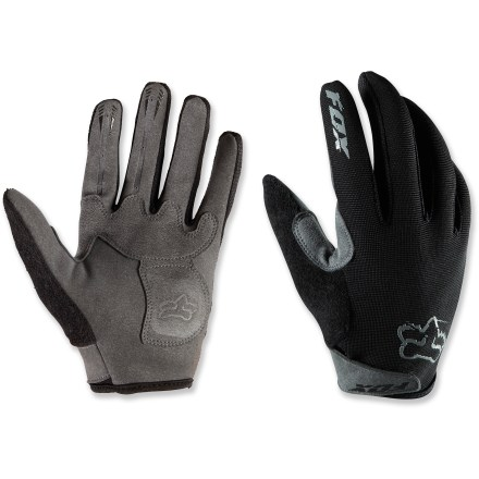 MTB Fox Ranger mountain bike gloves provide a good layer of protection when you're out on the trail. Lightweight and flexible top fabric doesn't feel stiff when you're gripping handles. Double layer synthetic suede palms provide good grip and durability. Silicone print on index and middle fingers provides added grip. Absorbent fabric on thumbs, so you can wipe the sweat out of your eyes. - $24.95