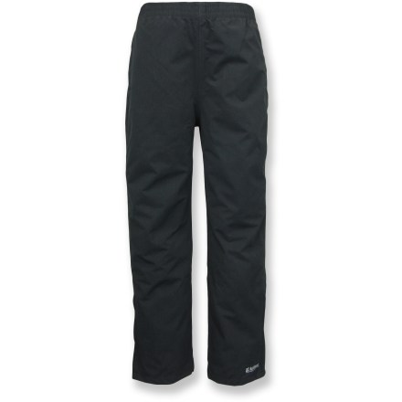 The Killtec Gimlet Jr. rain pants for boys offer reliable waterproof and breathable protection for hard-charging fun in wet winter weather. Polyester shell with 2.5-layer waterproof breathable laminate provides an effective barrier against outside moisture while letting vapor escape from the inside. The Killtec Gimlet Jr. pants feature an elastic waist, hand pockets, zippered back pocket and zippered gussets at the ankles. - $24.93