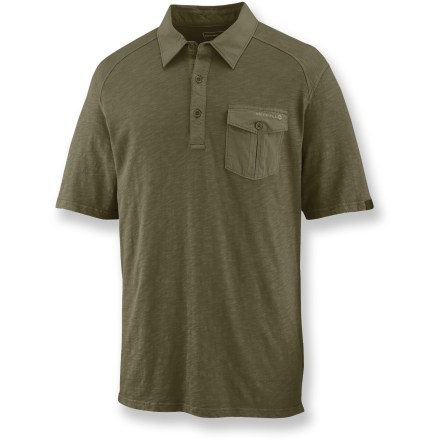 Sometimes there's nothing better than cool, comfortable cotton. The Merrell Woodruff polo shirt delivers with soft, slub-textured cotton and a touch of old-school style. Cotton fabric is naturally soft, breathable and comfortable. Shirt has been garment dyed, causing slight shading differences and adding another dimension of color; slub weave adds subtle texture. Merrell Woodruff polo shirt features contrasting cotton canvas on the collar, 3-button placket and chest pocket. Closeout. - $34.73