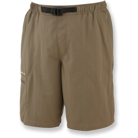 Kayak and Canoe Perfect for multi-terrain adventures, the water-friendly Merrell Portage shorts keep you comfortable while on the trails, canoeing downriver, or cooling off with a quick dip in the lake. Lightweight ripstop nylon with Opti-Wick(TM) wicks moisture moisture away to keep you comfortable while working up a sweat. Quick-dry capability lets you cool off in the river and get back on the trail in no time. Mesh inner liner ensures comfort in and out of the water. Integrated UPF 50+ sun protection continuously guards against harmful ultraviolet rays. Elasticized waistband with integrated webbed belt allows snug, secure fit. Zippered pocket on right leg secures small essentials while you're on the go; drainage hole makes sure the Merrell Portage shorts don't get bogged down. Closeout. - $36.73