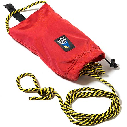"Kayak and Canoe Great for sea kayaking, this bag lays flat on the deck for quick, easy access. Small and light bag is stuffed with 55' of high quality, 1/4"" floating polypropylene rope. Rope is soft and pliable, making it easy to work with. Built-in floatation keeps bag afloat after it is tossed. High-tenacity pack-cloth bag protects rope from abrasion and UV-damage. - $36.00"