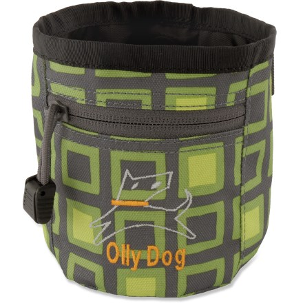 Camp and Hike The OllyDog Treat Bag Plus keeps Fido's snacks contained in a handy container for on-the-trail treats or training rewards. Magnetic closure is easy to open with 1 hand. Zippered stash pocket holds a key, ID and cash. Polyester fabric stands up to rugged outdoor use. Removable waist belt, rip-and-stick webbing loop and belt clip offer 3 ways to carry the OllyDog Treat Bag Plus. - $10.93