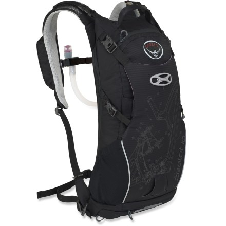 MTB The versatile and sturdy Osprey Zealot 10 hydration pack boasts a slim profile, carries a full-face helmet and body armor and has a detachable tool roll, making it great for all-mountain riding. Hydration system features a 3 liter (100 fl. oz.) reservoir that conforms to back's shape even when full, resulting in a precise, stable and comfortable fit. Rigid spine/handle stabilizes the reservoir, making it easy to slide it into its dedicated compartment; large mouth makes filling/cleaning easy. Back panel features ridge-molded foam with channels covered in mesh to allow airflow. Contoured shoulder straps feature breathable mesh and perforated foam to enhance breathability and comfort; stretch-mesh pocket and zip media pocket keep items close. Webbing waistbelt helps stabilize pack during demanding descents. Clamshell-shape zipper around back panel lets you get to main compartment without having to remove gear attached to front of pack. Quickly attach a helmet with the LidLock(TM) helmet clip; a bungee on the exterior of the pack allows easy adjustment of the LidLock feature. The padded front compression pocket can be used to secure a full-face helmet; body armor can be carried in the side mesh pockets or behind compression pocket. Quick-access top zippered pocket is lined with a soft, easy-to-clean heat-embossed fabric that helps keep sunglasses, goggles or other fragile items from getting scratched. The Osprey Zealot 10 hydration pack includes a tool roll, which has its own zip pocket at bottom of pack for easy mid-ride access to tools or pump; tool roll can be detached. Compression straps let you cinch down loads for jostle-free carrying. Reflective hits increase visibility in low light. - $129.00