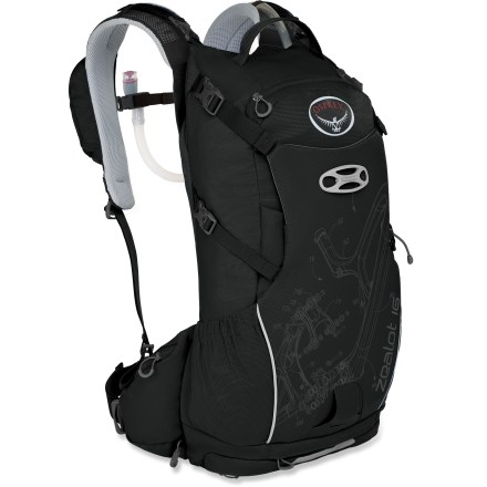 Fitness Built for long days filled with epic descents, the Osprey Zealot 16 hydration pack offers a 3 liter reservoir, a detachable tool roll and storage for a full-face helmet and body armor. Hydration system features a 3 liter (100 fl. oz.) reservoir that conforms to back's shape even when full, resulting in a precise, stable and comfortable fit. Rigid spine/handle stabilizes the reservoir, making it easy to slide it into its dedicated compartment; large mouth makes filling/cleaning easy. Back panel features ridge-molded foam with channels covered in mesh to allow airflow. Contoured shoulder straps feature breathable mesh and perforated foam to enhance breathability and comfort; stretch-mesh pocket and zip media pocket keep items close. Wide waistbelt with weight-bearing wings won't wander or wiggle. Mesh-backed hip wings feature zip pockets to stash small essentials. Clamshell-shape zipper around back panel lets you easily reach items in main compartment without having to remove gear attached to the front of the pack. Quickly attach a helmet with the LidLock(TM) helmet clip; a bungee on the exterior of the pack allows easy adjustment of the LidLock feature. Padded front compression pocket can be used to secure a full-face helmet; body armor can be carried in the side mesh pockets or behind compression pocket. Quick-access top zippered pocket is lined with a soft, easy-to-clean heat-embossed fabric that helps keep sunglasses, goggles or other fragile items from getting scratched. The Osprey Zealot 16 hydration pack includes a tool roll, which has its own zip pocket at bottom of pack for easy mid-ride access to tools or pump; tool roll can be detached. Compression straps let you cinch down loads for jostle-free carrying. Reflective hits increase visibility in low light. - $149.00