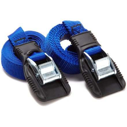 Entertainment The Riverside Heavy Duty Utility Straps are a great choice for securing kayaks, canoes, or luggage on the roof of your car. - $12.95
