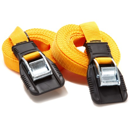 Camp and Hike The 12 ft. Riverside Heavy Duty utility straps are a great choice for tying down gear on top of your car. - $14.95