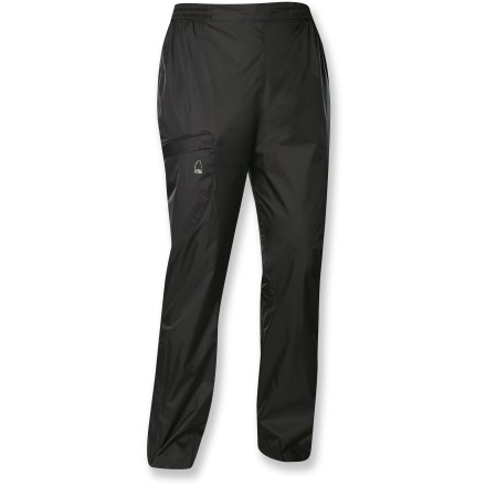The Sierra Designs Microlight women's pants protect against wind and light rain. Plus, they pack up in their own stuff sack so you can throw them in just about any size bag. - $21.83