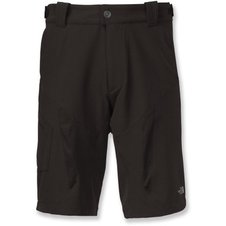 MTB The North Face LWH Stretch bike shorts have the details you need to ensure your comfort on all-day mountain biking endeavors. Lightweight, breathable and water-resistant fabric is stretchy; mesh vents on front and back keeps things breezy. Padded liner shorts are removable; wear outer shorts alone after you're done riding. Adjustable waist tabs provide a personalized fit; waistband is also higher in the back for coverage in the riding position. Longer length keeps knees protected from sun and abrasion when you're pedaling. The North Face LWH Stretch bike shorts have 1 zip cargo pocket and 2 mesh-lined hand pockets (1 has a sunglasses wipe). - $68.93