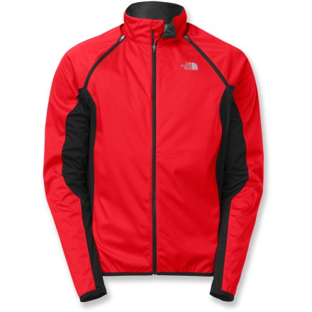 Fitness The versatile LWH Soft-Shell bike jacket by The North Face has zip-off sleeves for adaptable performance on your cross-country trail-riding adventures. Highly wind-resistant and water-resistant main body of jacket offers comfort and protection during high-intensity riding in a variety of weather conditions. Strategically placed panels feature FlashDry(TM) fabric, which uses a built-in additive to dramatically improve moisture-wicking performance and dry times. Zip-off sleeves transform the jacket into a vest when your temperature rises. Full-length zipper with draft flap lets you ventilate as needed. Single zip pocket at lower back stashes riding essentials. Reflective detailing increases your visibility in low light. Droptail hem in back of the LWH Soft-Shell jacket by The North Face keeps you covered while in the riding position. - $86.93