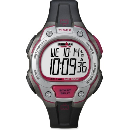 Camp and Hike The Timex Ironman 50-Lap watch sports an array of Ironman-ready features and a durable, colorful design. Features 50-lap memory recall and 100 hr. chronograph with lap or split option. Countdown timer includes countdown stop and countdown repeat. Also features 3 programmable alarms and on/off hourly chime. INDIGLO(R) backlight illuminates the display for easy use at night. Polyurethane strap offers enhanced flexibility for a comfortable fit. The Timex Ironman 50-Lap watch is water resistant to 100m (330 ft.). - $47.93