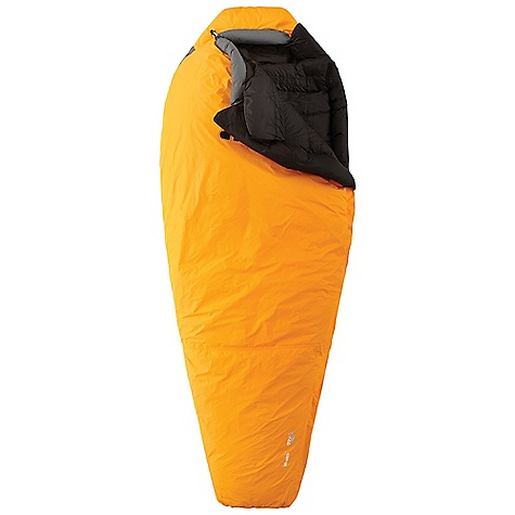 Camp and Hike Features of the Mountain Hardwear Wraith Sleeping Bag Q. Shield DOWN 800-fill has an advanced treatment applied that resists heat robbing moisture and retains maximum loft in damp conditions Dry.Q Elite shell is waterproof, breathable, windproof, durable and lightweight Hidden baffle construction preserves waterproofness and durability Laminated, double external zipper flaps keep water out 5in. baffle spacing keeps down cArefully controlled for even, predictable loft Six-chamber hood design maintains even loft around head for consistent warmth Ergonomic draft collar blocks the escape of heated air from inside the bag Two piece collar drapes naturally over neck and shoulders creating a soft comfortable seal Two draw cords can snug down as needed to secure the collar Down filled face gasket comfortably blocks drafts at the hood opening, Only a slight tightening of the draw cord is required to seal in warmth Two small pockets above collar provide storage for small Items Double draft tubes along zipper prevent cold spots Comfort footbox follows natural foot position for maximum warmth and comfort Storage sack and stuff sack included - $899.95