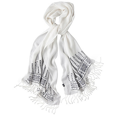 Prana Women's Venus Scarf DECENT FEATURES of the Prana Women's Venus Scarf Fair Trade Certified Lightweight Intricate black pattern along edges Fringe trim Long: 26in. / 66.04 cm, Wide: 70in. / 177.8 cm The SPECS 100 Viscose - $31.95